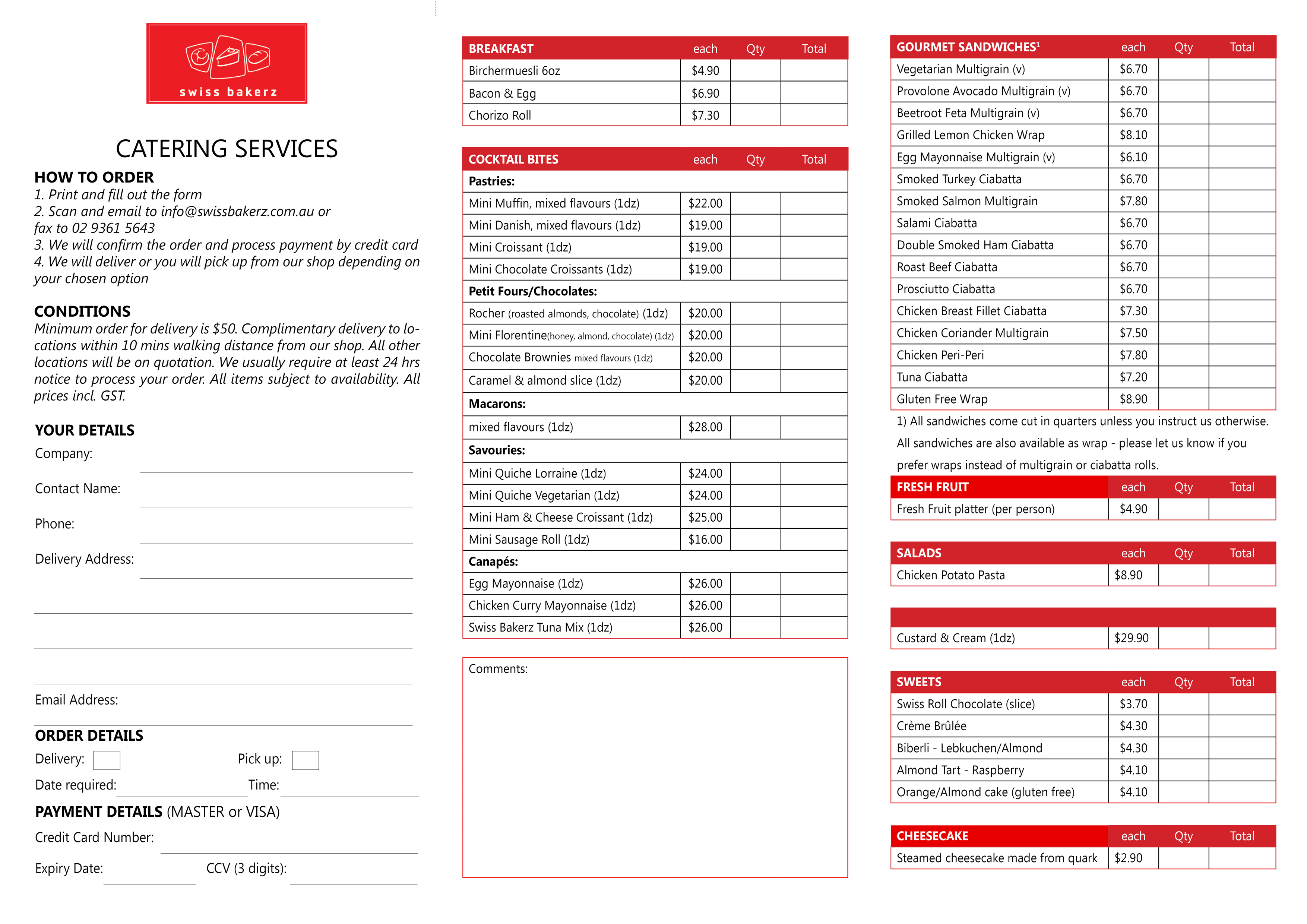 Swiss Bakerz Catering order form